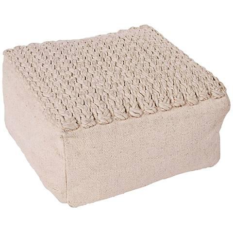 Jaipur Scandinavia Ivory Wool Square Pouf Ottoman
