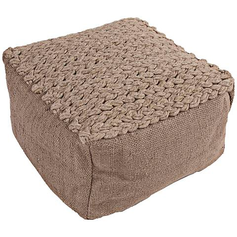 Jaipur Scandinavia Taupe Wool Square Pouf Ottoman