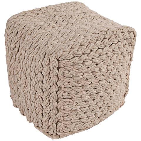 Jaipur Scandinavia Knit Tan Wool Cube Pouf Ottoman