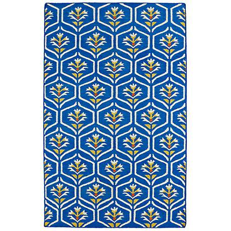 Kaleen Glam GLA08-17 Blue and Yellow Flatweave Wool Rug