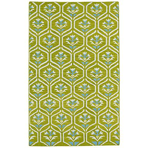 Kaleen Glam GLA08-70 Wasabi Green Flatweave Wool Area Rug