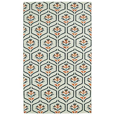 Kaleen Glam GLA08-99 Ivory with Coral Flatweave Wool Rug