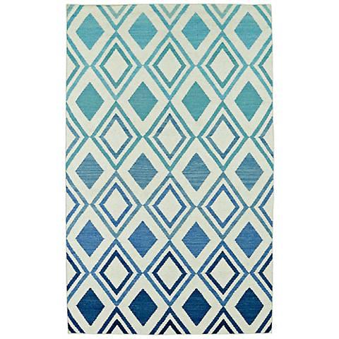 Kaleen Glam GLA09-17 Gradient Blue Flatweave Wool Area Rug
