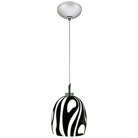 "Jesco Fabio 4 3/4"" Wide Zebra Black Glass Mini Pendant"