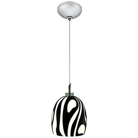 "Jesco Fabio 4 3/4"" Wide Zebra Black Glass Mini Pendant"
