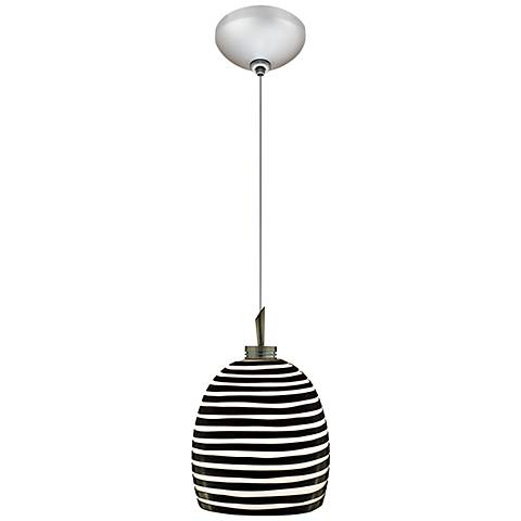"Jesco Zeb 4 3/4"" Wide Black Striped Glass Mini Pendant"