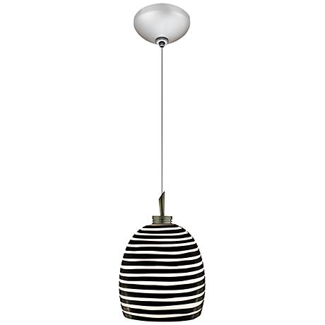 "Jesco Zeb 4 3/4"" Wide Black Striped Glass Mini Pendant"