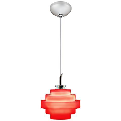 """Jesco Grace 4"""" Wide Red Matte Glass Mini Pendant"""