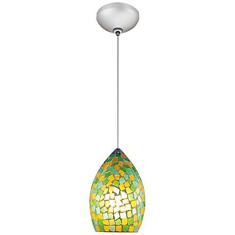 "Jesco Moz 5"" Wide Green Mosaic Glass Mini Pendant"