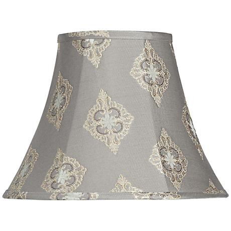 Gray Floral Embroidered Bell Lamp Shade 7x14x11 (Spider)