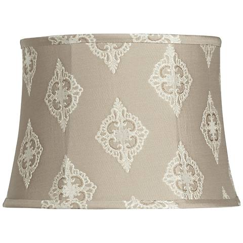 Tan Floral Embroidered Drum Shade 12x14x10 (Spider)