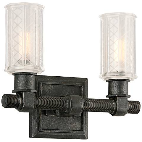 "Vault 11"" Wide Aged Pewter Iron 2-Light Wall Sconce"