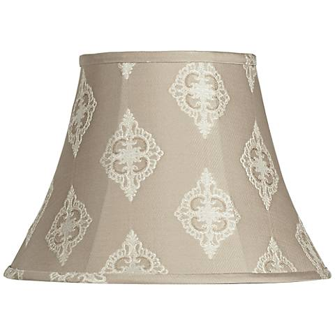 Tan Floral Embroidered Bell Shade 8x15x11 (Spider)