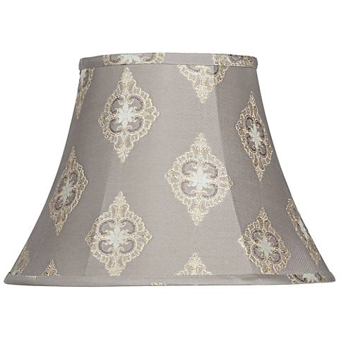 Gray Flower Embroidered Bell Lamp Shade 8x15x11 (Spider)