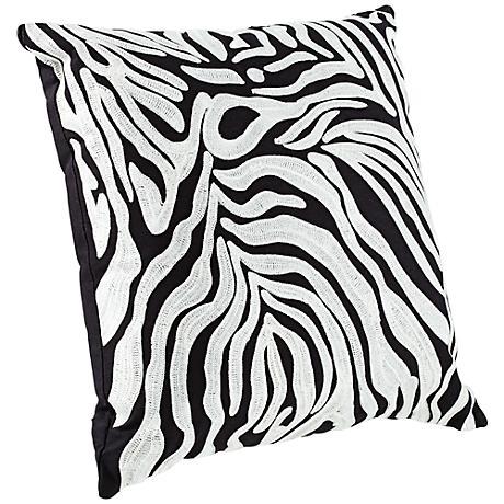 """Oasis 18"""" Square Zebra Stripe Throw Pillow"""