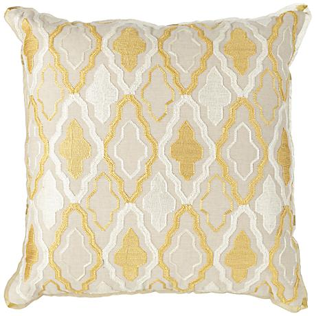 "Crest 18"" Square Ivory and Yellow Groove Decorative Pillow"