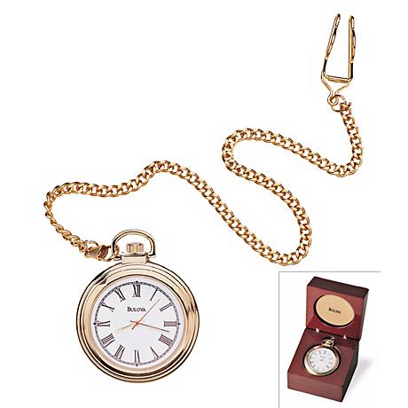 Bulova Ashton Executive Pocket Clock and Wood Case