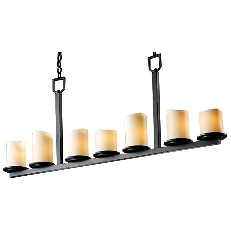 7-Light Dark Bronze & Creme Faux Candle Bar Chandelier