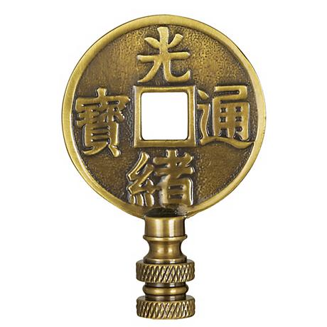 """2"""" High Chinese Coin Bronze Finish Lamp Shade Finial"""