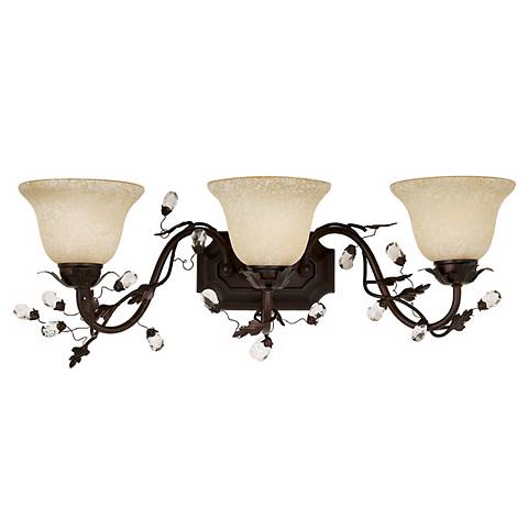 "Elegante Collection 28"" Wide Bronze Bathroom Light Fixture"
