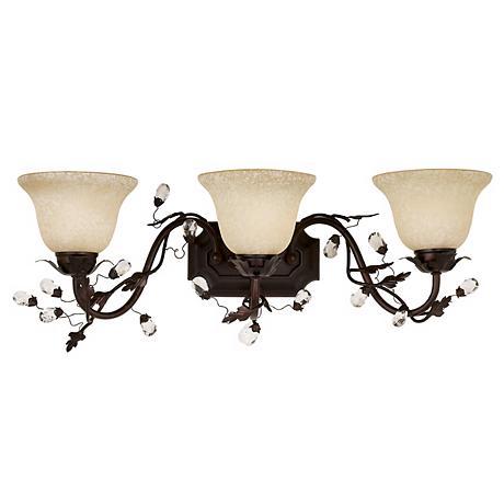 """Elegante Collection 28"""" Wide Bronze Bathroom Light Fixture"""