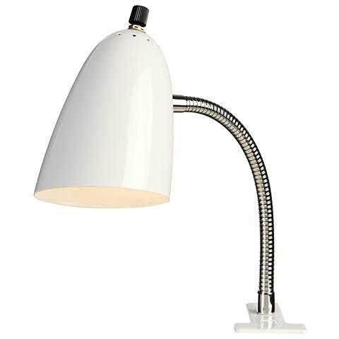 White Gooseneck Clip Lamp with LED Bulb