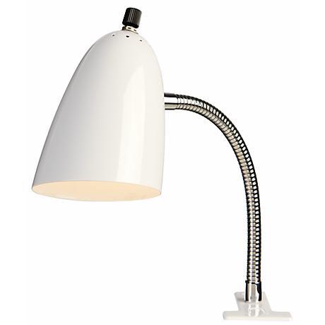 White Gooseneck Clip Light