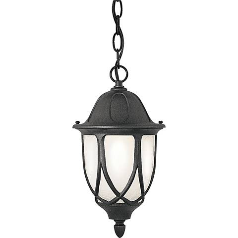 "Capella 20"" High Crackled Glass Black Outdoor Hanging Light"