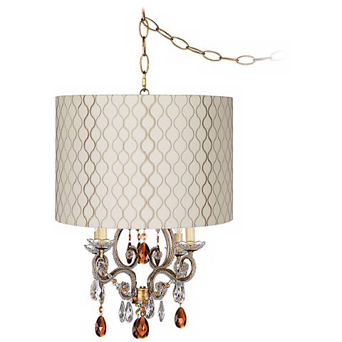 Leila Gold Embroidered Shade Plug-In Swag Chandelier