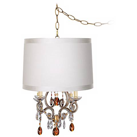 Leila Gold Designer Off-White Shade Plug-In Swag Chandelier