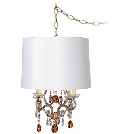 white shade plug in swag chandelier 76489 u8699 x9969 lamps plus. Black Bedroom Furniture Sets. Home Design Ideas