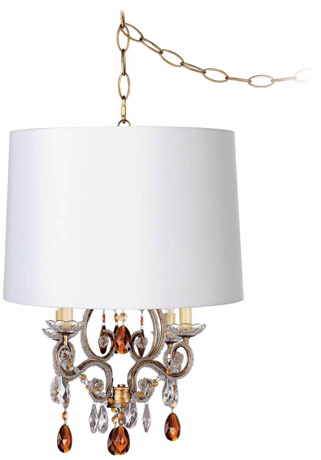 leila gold designer white shade plugin swag chandelier