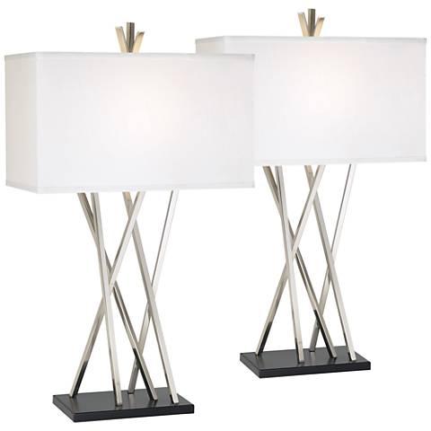 Possini Euro Asymmetry Brushed Steel Table Lamp Set of 2