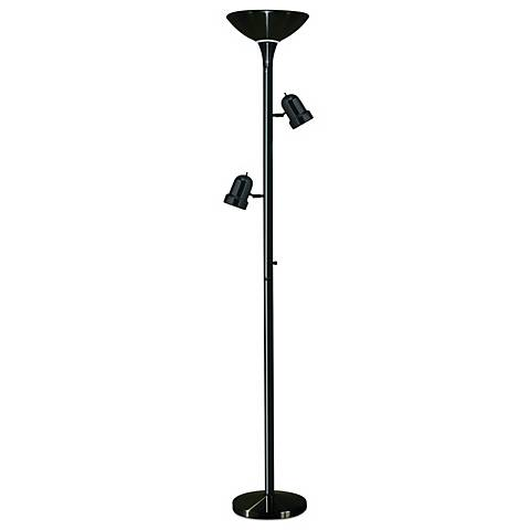 3-in-1 Black Tree Torchiere Floor Lamp with Side Lights