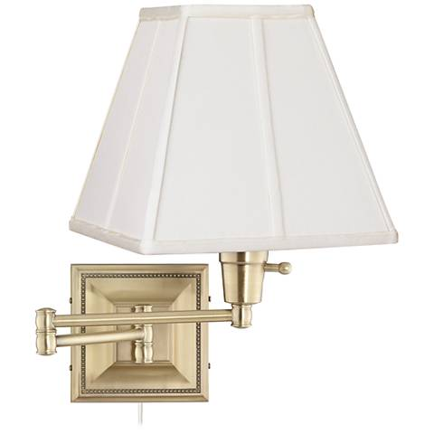 Ivory Square Shade Brass Beaded Plug-In Style Swing Arm Wall Lamp
