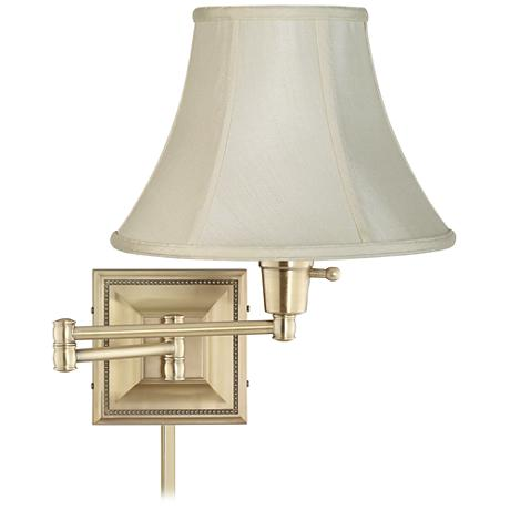 creme shade brass beaded swing arm with cord cover 77426 r2636 u2364 lamps plus. Black Bedroom Furniture Sets. Home Design Ideas