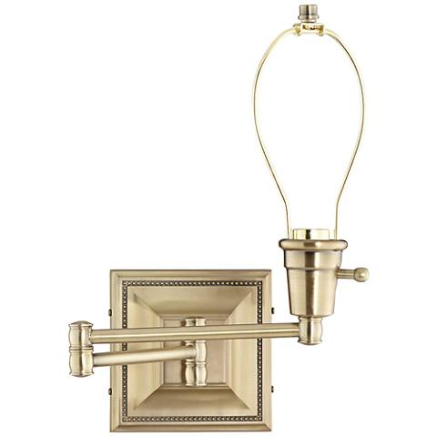 brass finish plug in swing arm wall lamp base 77426 lamps plus. Black Bedroom Furniture Sets. Home Design Ideas