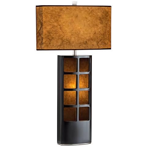Nova Ventana Dark Brown Wood Standing Table Lamp