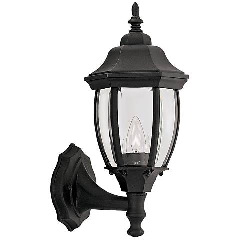 "Tiverton 14 3/4""H Clear Glass Black Outdoor Wall Light"