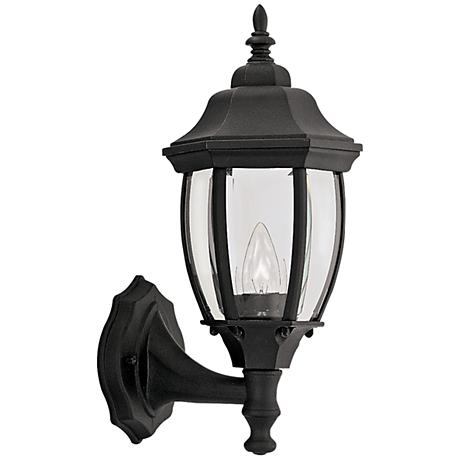 """Tiverton 14 3/4""""H Clear Glass Black Outdoor Wall Light"""