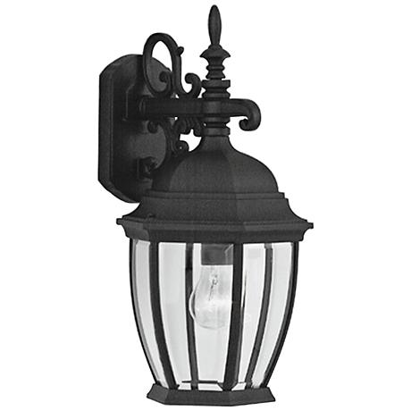 """Tiverton 18 1/2""""H Clear Glass Black Outdoor Wall Light"""