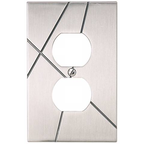Modernist Brushed Nickel Power Outlet Wall Plate