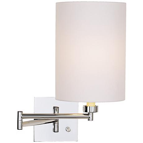 White Cotton Drum Shade Chrome Plug-In Swing Arm Wall Lamp