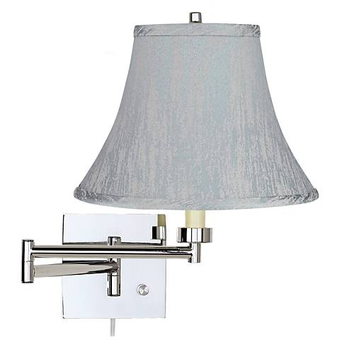 Chrome Plug-In Swing Arm Wall Lamp with Gray Bell Shade