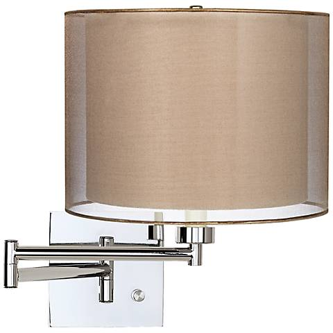 Sheer Bronze Drum Shade Chrome Plug-In Swing Arm Wall Lamp