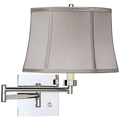 Pewter Gray Drum Chrome Plug-In Swing Arm Wall Lamp