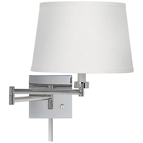 Plug In Wall Lamp With Cord Cover : White Linen Chrome Plug-In Swing Arm with Cord Cover - #79404-K4850-U2365 Lamps Plus
