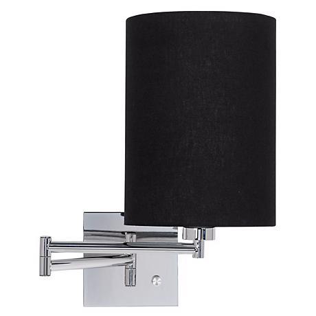 Black Cylinder Shade Plug-In Swing Arm Wall Lamp