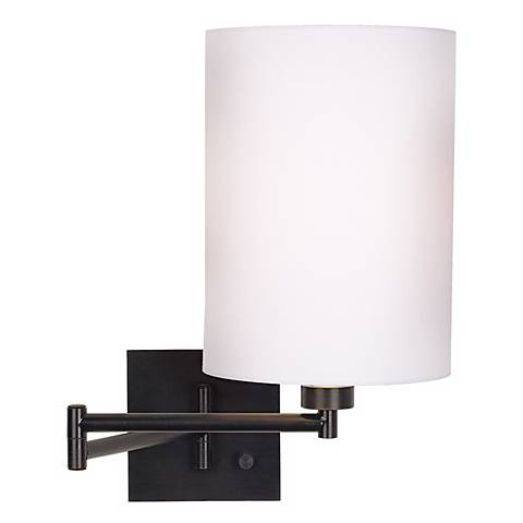 White Drum Shade Espresso Swing Arm Wall Lamp