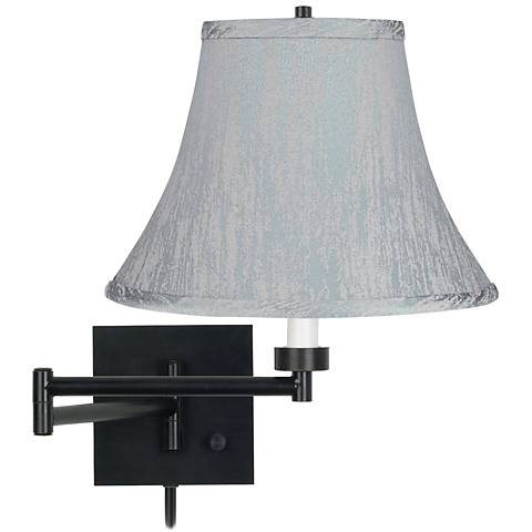 Espresso Bronze Plug-In Swing Arm Wall Lamp with Gray Bell Shade